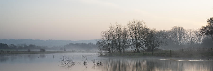 Panorama Landscape Of Lake In Mist With Sun Glow At Sunrise Photograph