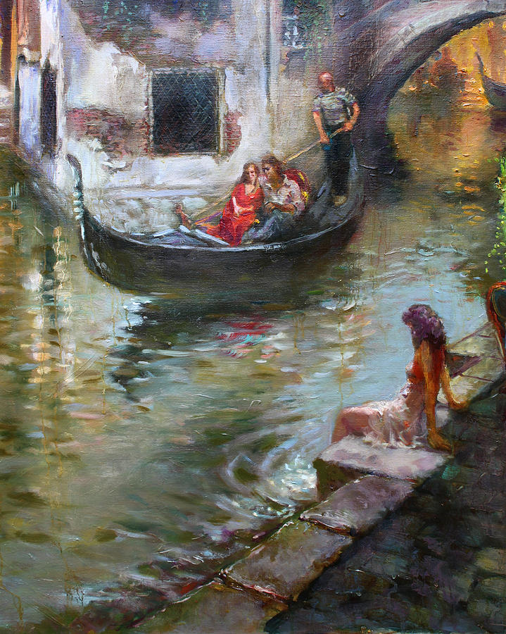 Romance In Venice Painting By Ylli Haruni