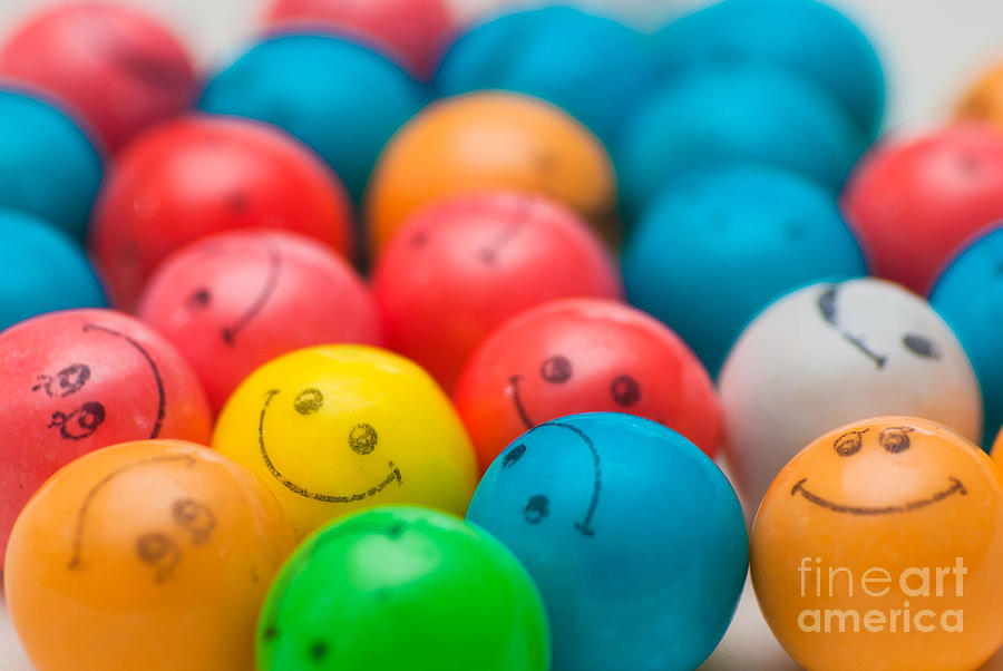 Smiley Face Gum Balls Photograph  - Smiley Face Gum Balls Fine Art Print