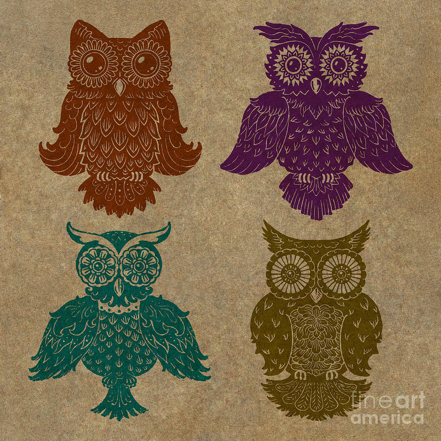 4 Sophisticated Owls Colored Painting  - 4 Sophisticated Owls Colored Fine Art Print