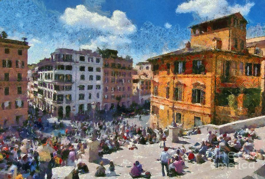 Spanish Steps; Piazza Di Spagna; Rome; People; Tourists; Italy; Roma; City; Capital; Lazio; Sit; Sitting; Walk; Walking; Relaxing; Relaxation; Center; Central; Historic; Historical; Square; Travel; Trip; Journey; Holidays; Vacation; Sunny; World Heritage City Painting - Spanish Steps At Piazza Di Spagna by George Atsametakis