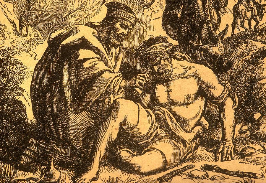 Parable Drawing - The Good Samaritan by English School