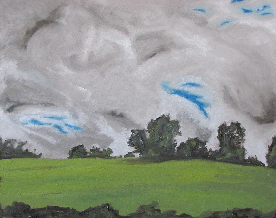 The White And Grey Clouds Quebec Canada Painting  - The White And Grey Clouds Quebec Canada Fine Art Print