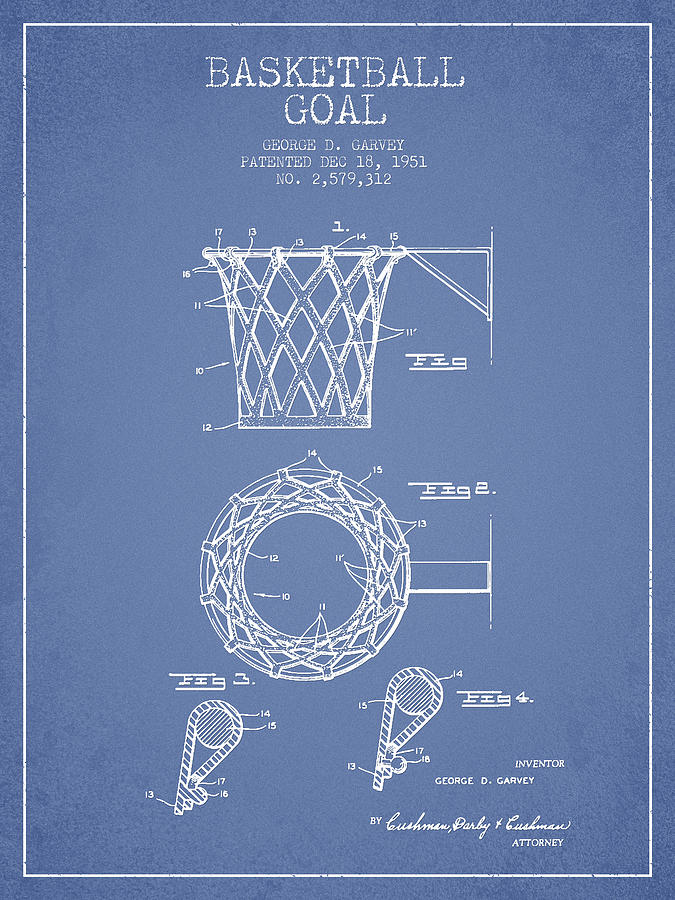 Vintage Basketball Goal Patent From 1951 Drawing