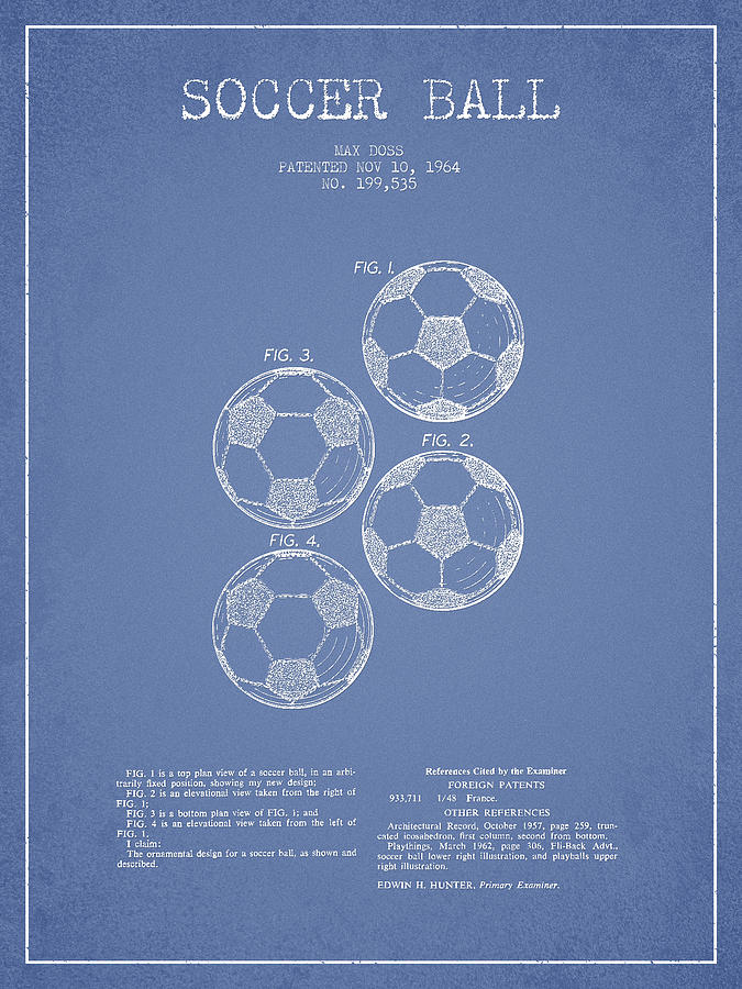 Vintage Soccer Ball Patent Drawing From 1964 Drawing