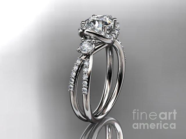 White Gold Diamond Unique Engagement Ring Wedding Ring  Jewelry 