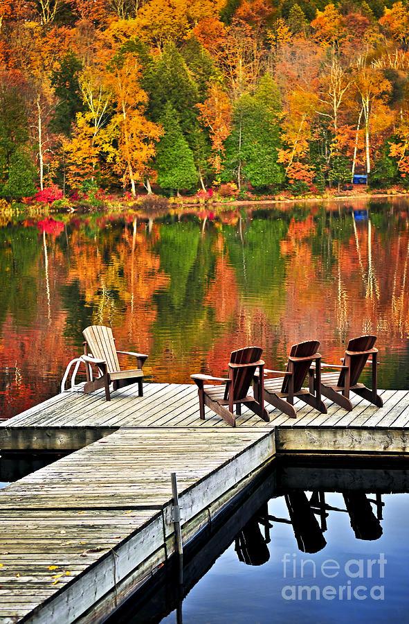 Wooden Dock On Autumn Lake Photograph