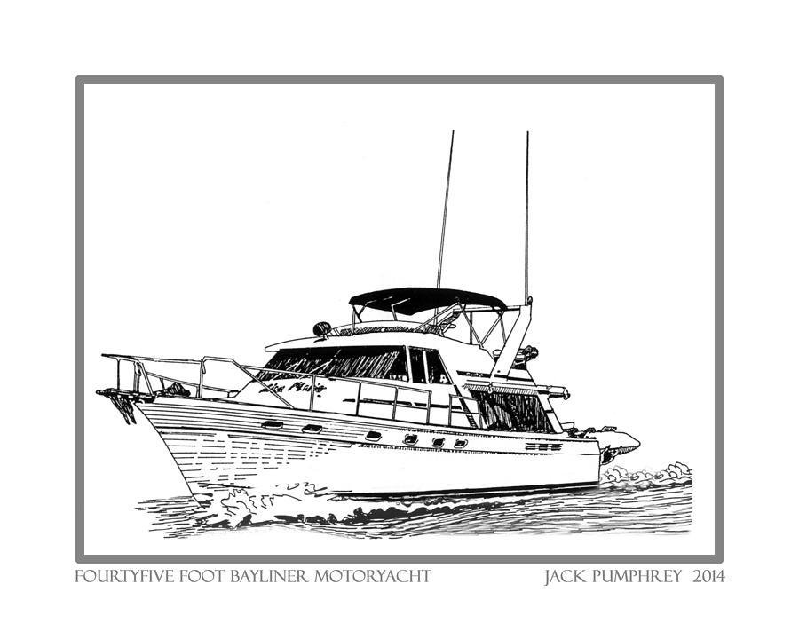 Yacht Portraits Photograph - 45 Foot Bayliner Motoryacht by Jack Pumphrey