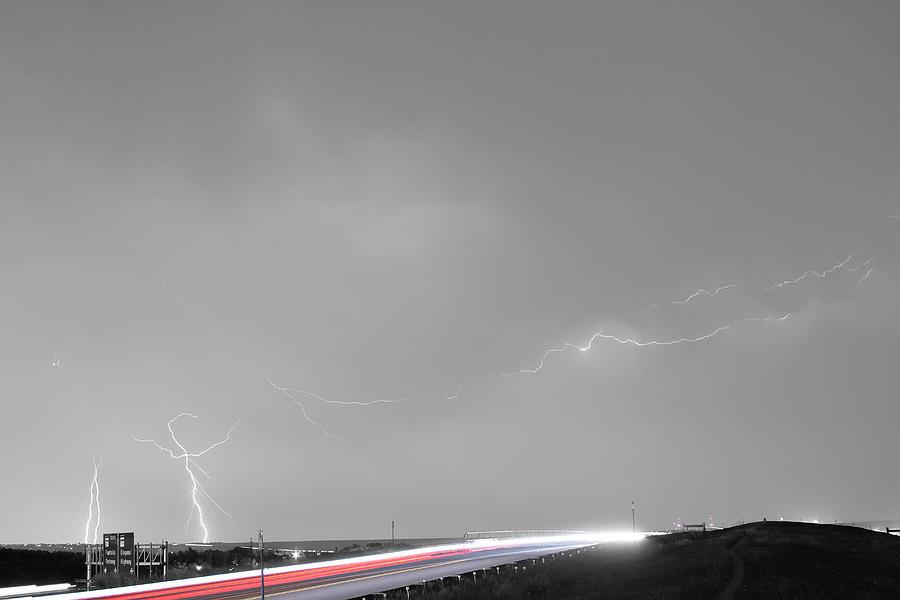 47 Street Lightning Storm Light Trails View Bwsc Photograph