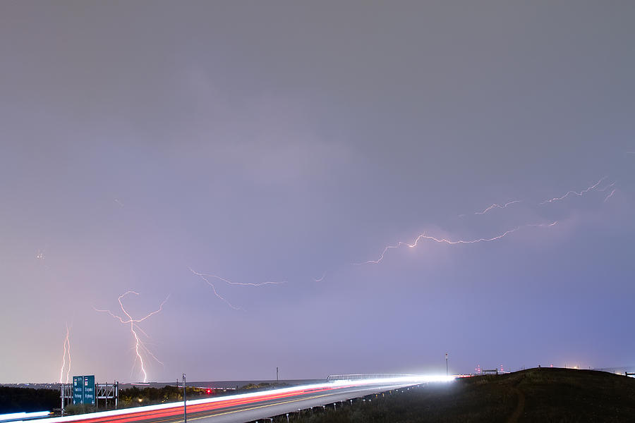 47 Street Lightning Storm Light Trails View Photograph