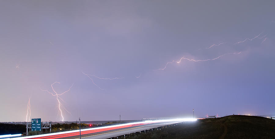 47 Street Lightning Storm Light Trails View Panorama 1 Photograph