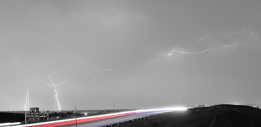 47 Street Lightning Storm Light Trails View Panorama Photograph
