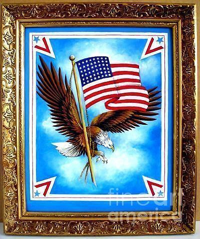 48 Star Usa Flag And Eagle. Glory And Victory Painting