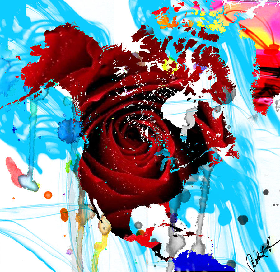 48x46 Beautiful World Rose Red Signed Art Abstract Paintings Modern Ww...