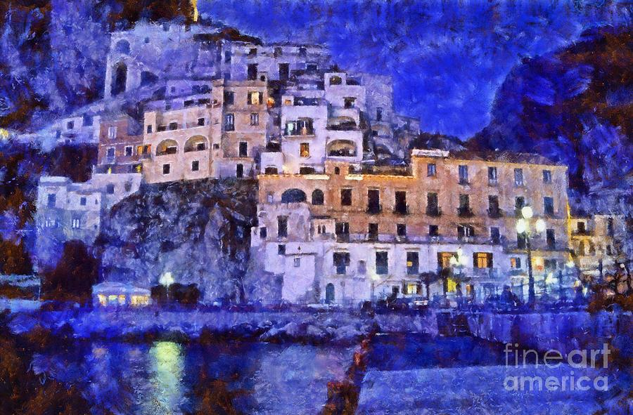 Amalfi Painting - Amalfi Town In Italy by George Atsametakis
