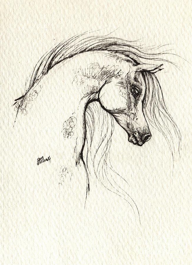 Arabian Horse Drawing Drawing by Angel Tarantella
