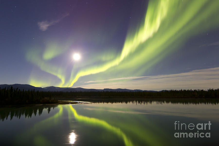 Aurora Borealis And Full Moon Photograph