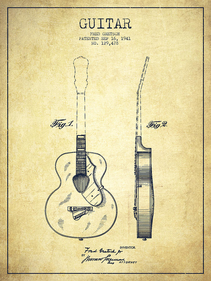 Gretsch Guitar Patent Drawing From 1941 - Vintage is a drawing by Aged ...