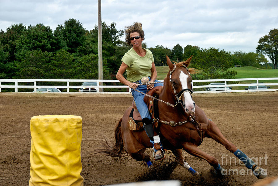 Horse And Rider In Barrel Race Photograph  - Horse And Rider In Barrel Race Fine Art Print