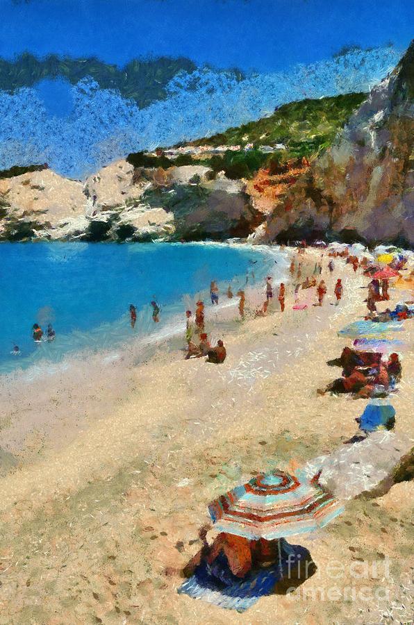 Lefkada; Lefkas; Porto Katsiki; Beach; People; Tourists; Island; Swim; Swimming; Sunbathing; Suntanning; Suntan; Tanning; Relaxing; Relaxation; Clear Water; Transparent Water; Umbrellas; Parasols; Sunshades; Sea; Islands; Holidays; Vacation; Travel; Trip; Voyage; Journey; Tourism; Touristic; Summer; Sand; Ionion; Ionian; Greece; Hellas; Greek; Hellenic; Europe; Paint; Painting; Paintings Painting - Porto Katsiki Beach In Lefkada Island by George Atsametakis