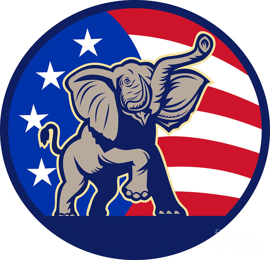 Republican Elephant Mascot Usa Flag Digital Art