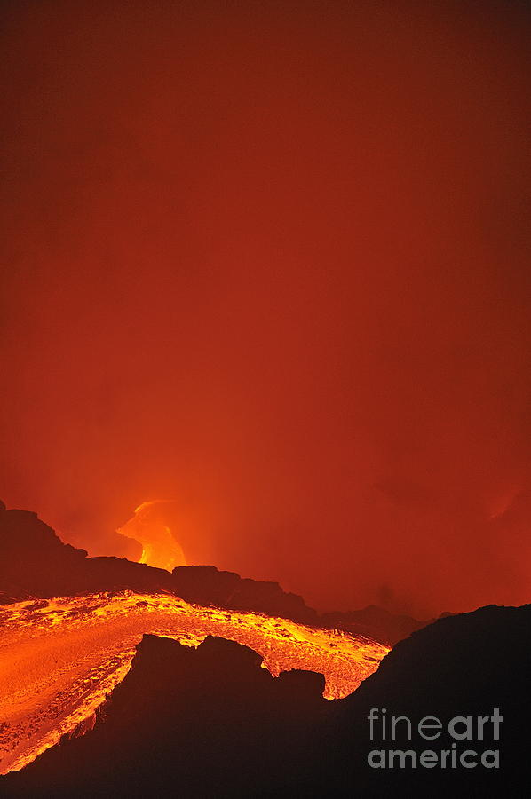 River Of Molten Lava Flowing To The Sea Photograph
