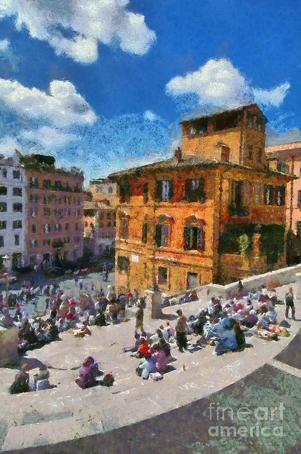 Spanish Steps At Piazza Di Spagna Painting