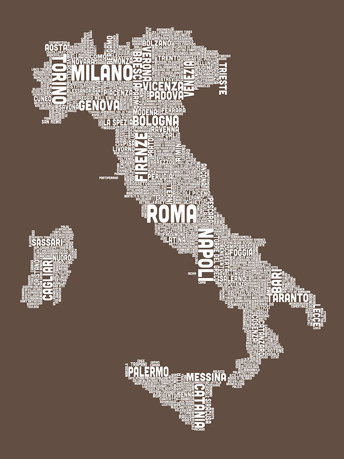 Text Map Of Italy Map Digital Art