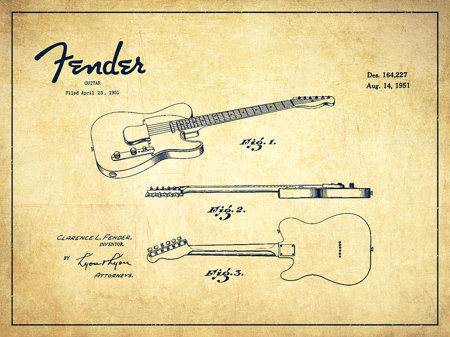 Vintage Fender Guitar Patent Drawing From 1951 Drawing By