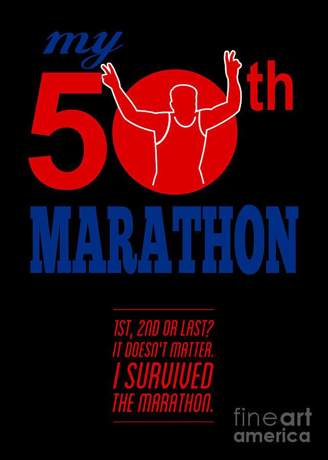50th Marathon Race Poster Digital Art