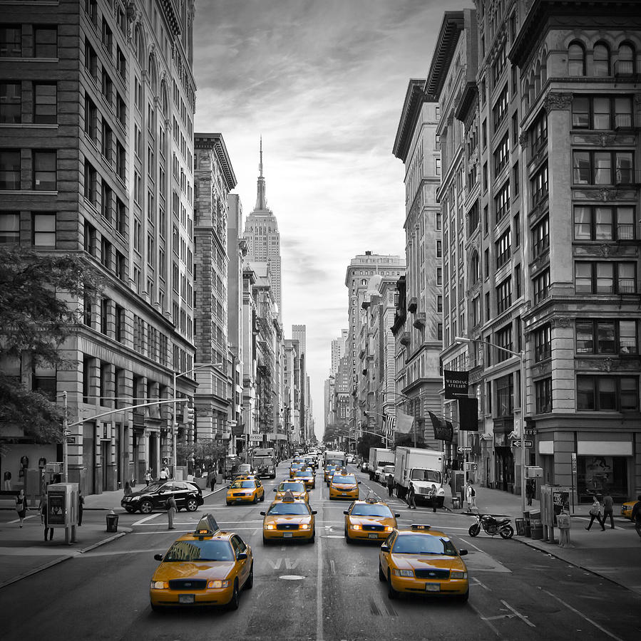 5th Avenue Yellow Cabs Photograph