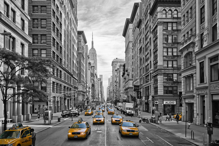 5th Avenue Yellow Cabs - Nyc Photograph  - 5th Avenue Yellow Cabs - Nyc Fine Art Print
