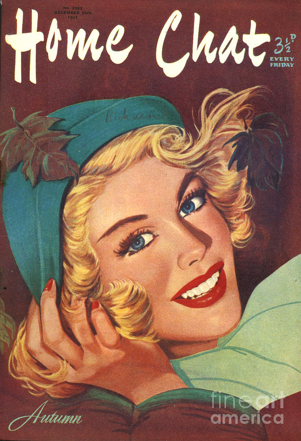 1950s Uk Home Chat Magazine Cover Drawing