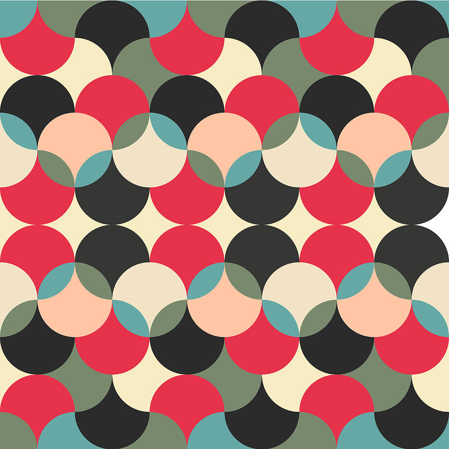 Abstract retro geometric pattern digital art by atthamee ni Geometric patterns