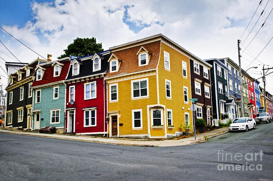 Colorful Houses In St. Johns Newfoundland Photograph  - Colorful Houses In St. Johns Newfoundland Fine Art Print