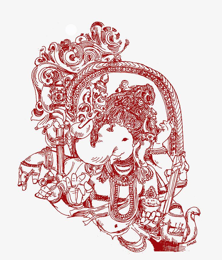 Lord Ganesha Line Drawing Pic Cmtcartproject