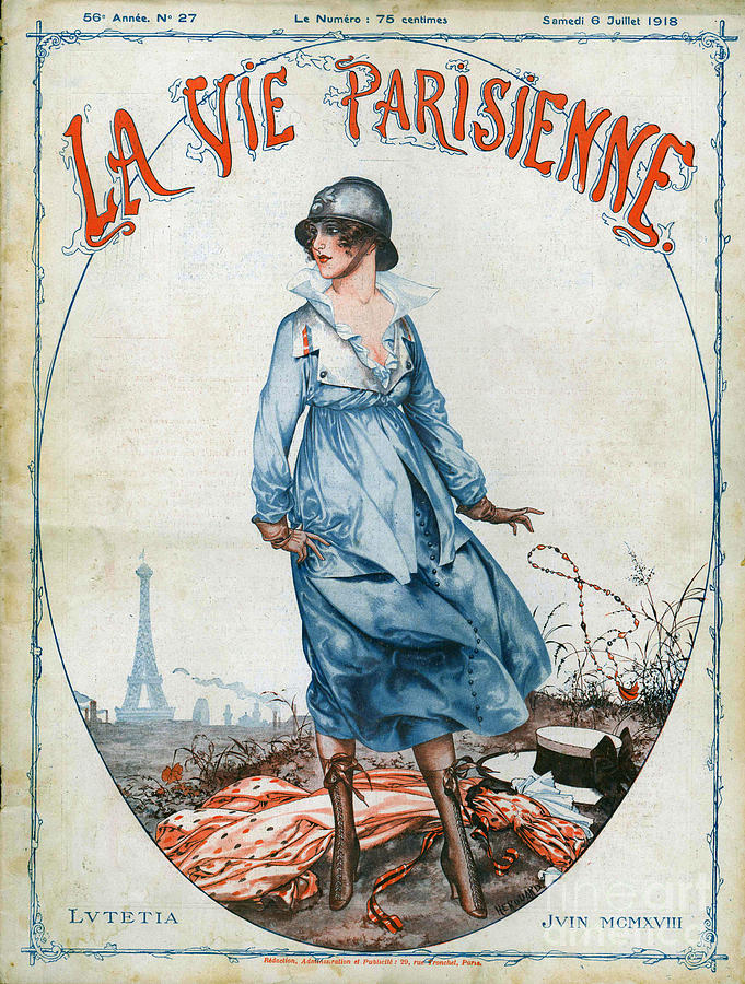 La Vie Parisienne 1918 1910s France Cc Drawing  - La Vie Parisienne 1918 1910s France Cc Fine Art Print