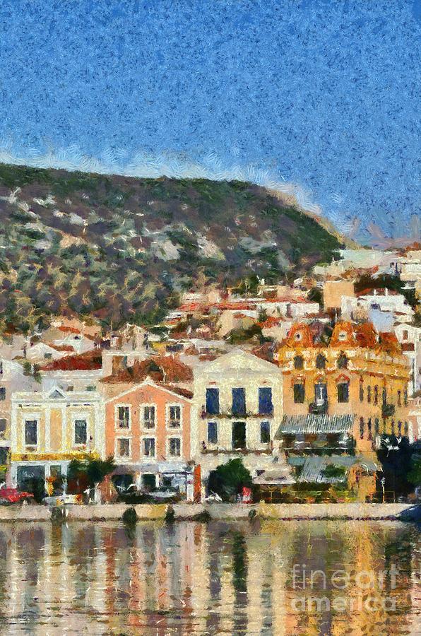 Lesvos; Lesbos; Mytilini; Mitilini; Mytilene; City; Town; Port Painting - Mytilini Port by George Atsametakis