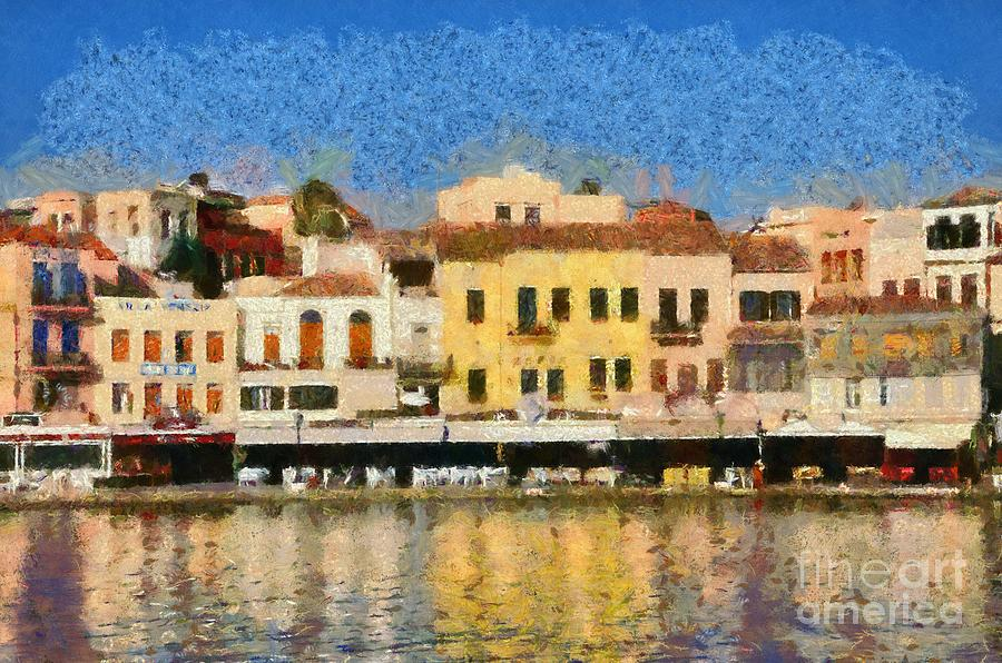 Painting Of The Old Port Of Chania Painting