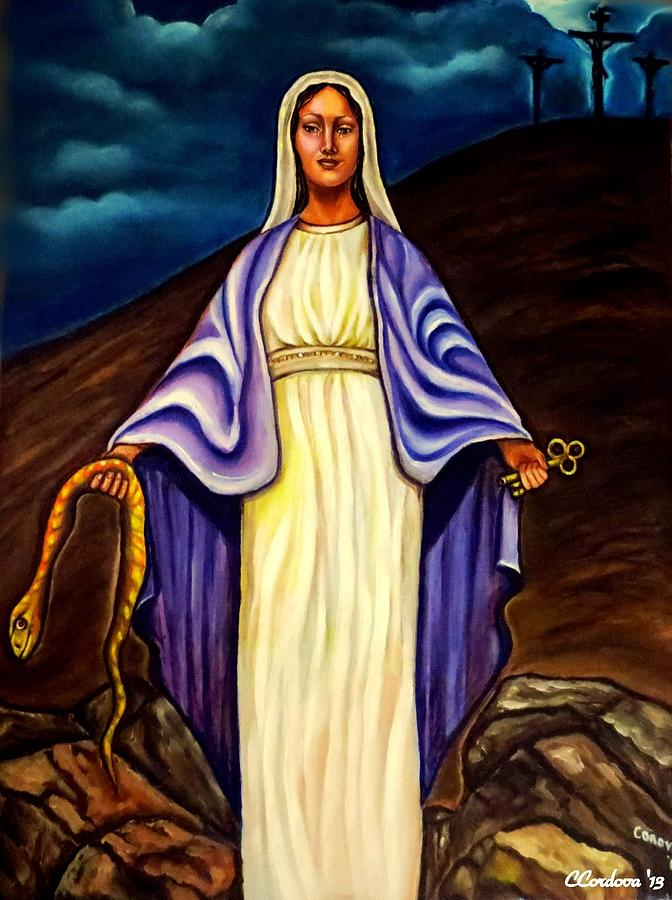 Virgin Mary- The Protector Painting  - Virgin Mary- The Protector Fine Art Print