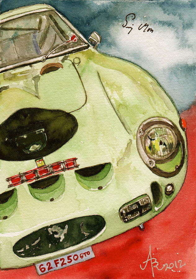 62 Ferrari 250 Gto Signed By Sir Stirling Moss Painting By