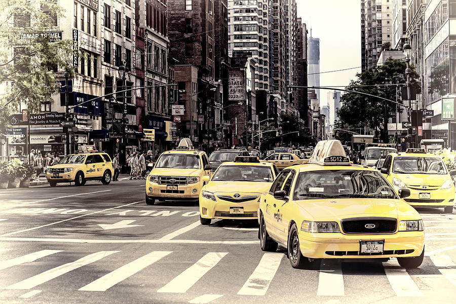 6th Photograph - 6th Avenue Nyc Yellow Cabs by Melanie Viola