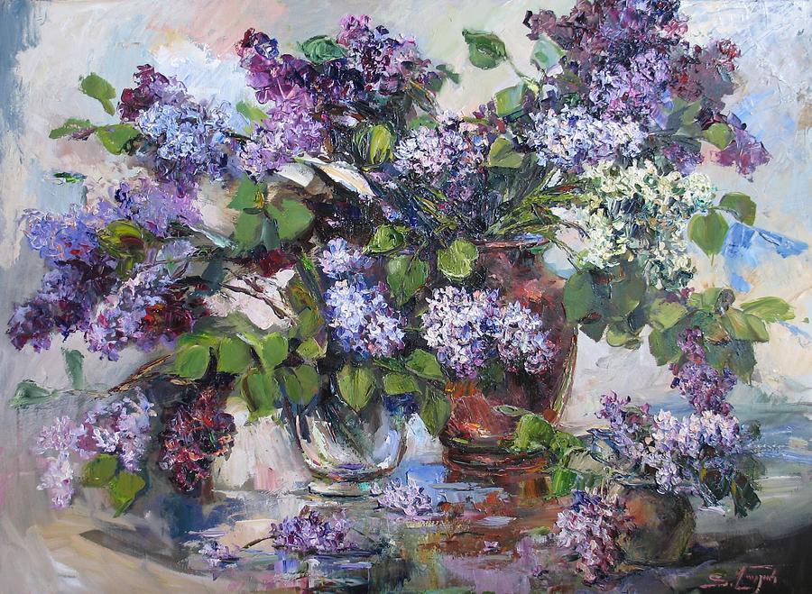 Armenian Paintings Paintings Painting - Lilacs by Tigran Ghulyan