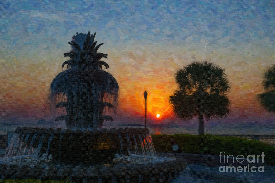 Pineapple Fountain At Dawn Digital Art