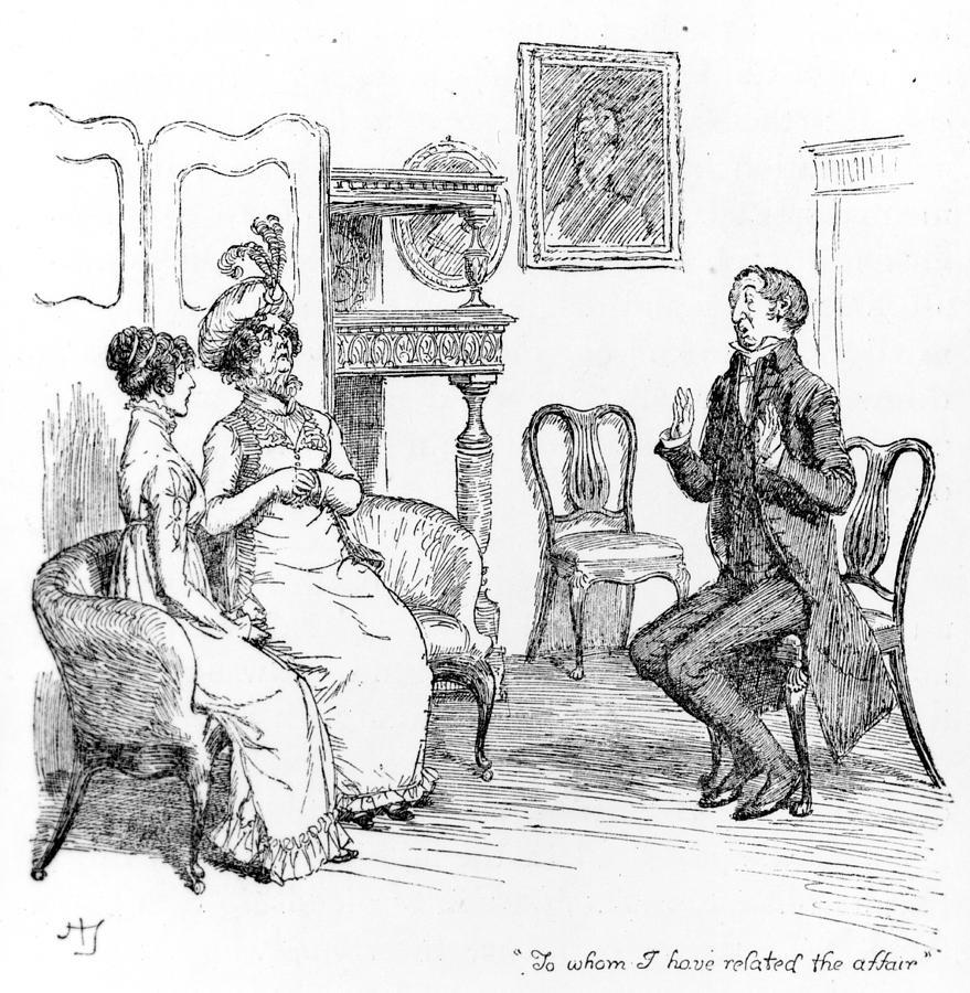 To Whom I Have Related The Affair; Illustration; Pride And Prejudice; Jane Austen; Edition; Illustrated; Mr; Collins; Lady Catherine De Bourgh; Daughter; Character; Regency; Georgian; News; Gossip; Gossiping; Relating; Scandal; Clergyman; Pompous; Ingratiating; Obsequious; Vicar; Lydia Bennet's; Elopement; Bennett's; Interior; Costume; Rosings Drawing - Scene From Pride And Prejudice By Jane Austen by Hugh Thomson