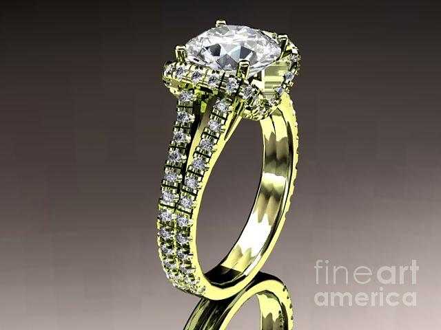Yellow Gold Diamond Unique Engagement Ring Wedding Ring  Jewelry