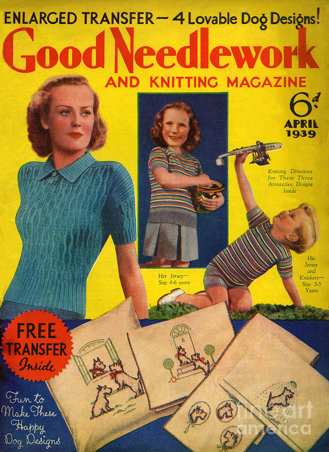 1930s Uk Good Needlework And Knitting Drawing  - 1930s Uk Good Needlework And Knitting Fine Art Print