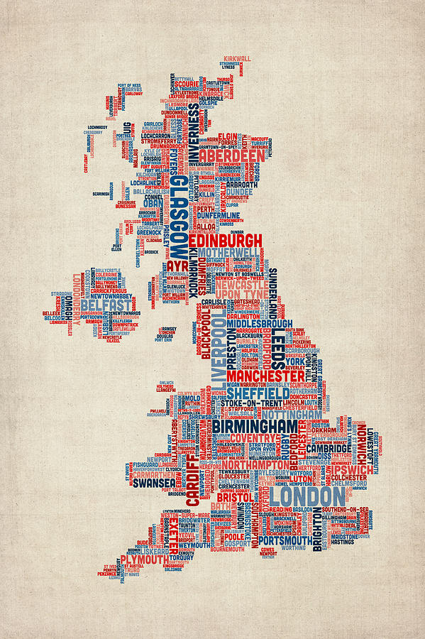 Great Britain Uk City Text Map Digital Art