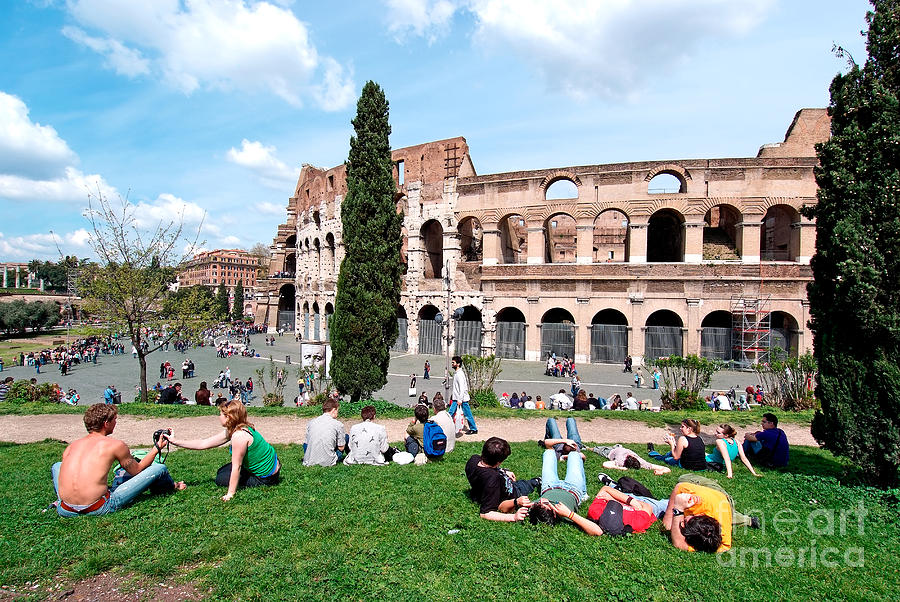 Colosseum Photograph - Outside Colosseum In Rome by George Atsametakis