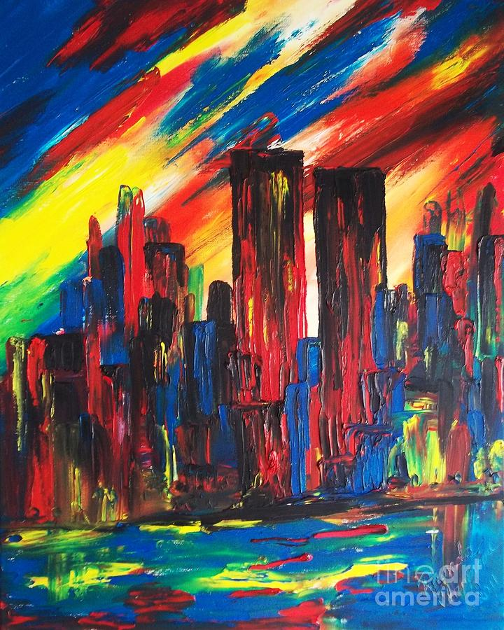 9-11 Fire In The Sky Painting